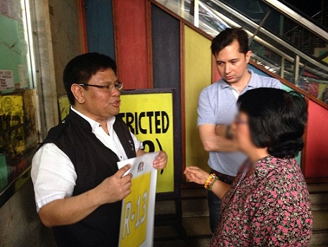 Villareal with Andrews explaining MTRCB guidelines to Dilson Theater operator.
