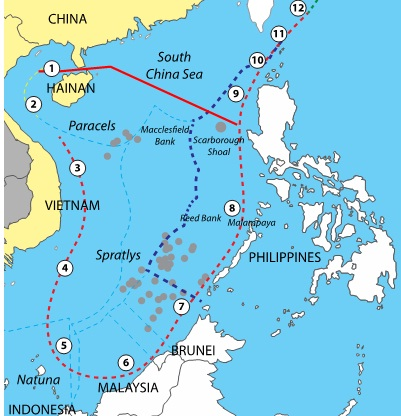 Hainan claims to administer all the waters enclosed by the dashes from 1 to the heavy red line intersecting the dashes between 8 and 9.  The enclosed waters comprise two million square kilometers. China claims a total of three million square kilometers of maritime space, and all the resources found there, out of the 3.5 million square kilometers of maritime space in the South China Sea.
