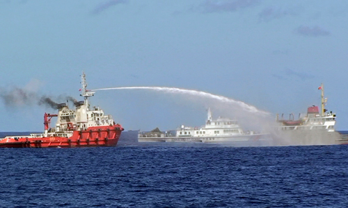 Water cannon fight in Paracels between China and Vietnam last May.