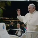Pope Francis rides the popemobile