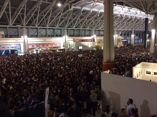Wuri Railway Station in Taichung, at about 9 p.m. of Saturday, March 7, 2015. Part of the 1.5 million  who came to visit the Lantern Festival.