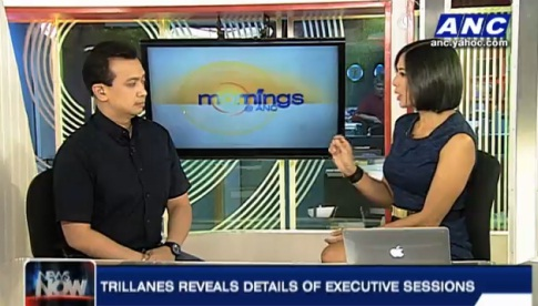 Trillanes being interviewed by Pinky Webb at Mornings at ANC