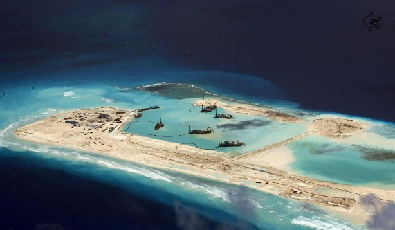 China reclamation and construction in Fiery Cross Reef April 2015