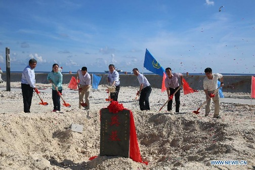 Groundbreaking ceremony for the construcion of Lighthouses in Huayang Reef and Chigua Reef. Xinhua photo.