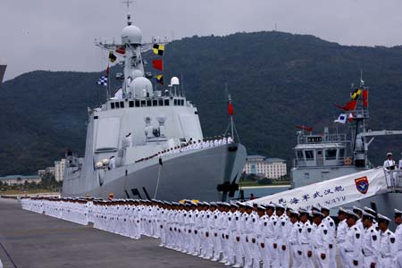 A ceremony is held before a Chinese naval fleet sets sail from a port in Sanya city of China's southernmost island province of Hainan on Dec. 26, 2008.