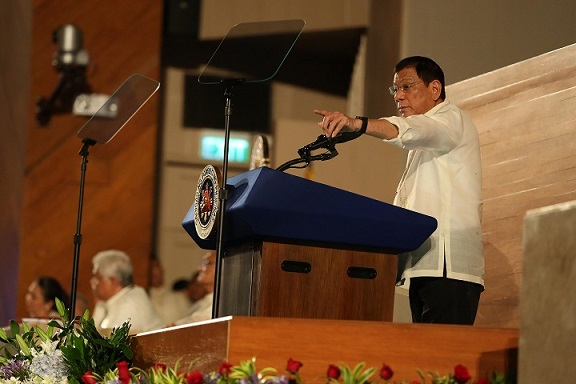 President Rodrigo R. Duterte delivering his first State of the Nation Address at Batasang Pambansa. Photo by King Rodriguez/PPD